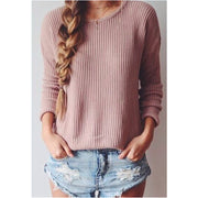 Long-Sleeved Round Collar Pure Color Loose Sweater