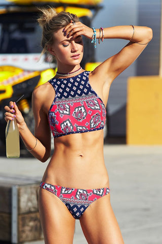 Retro Sexy Digital Print Two Pieces Swimwear Bikini
