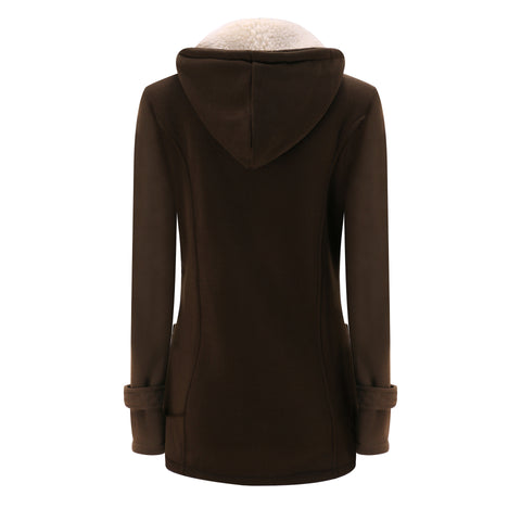 Unique Horn Style Buttons Pockets Solid Color Women Hooded Slim Coat