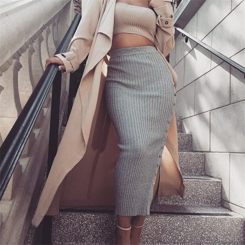 Buttons Knit High Waist Split Slim Long Skirt