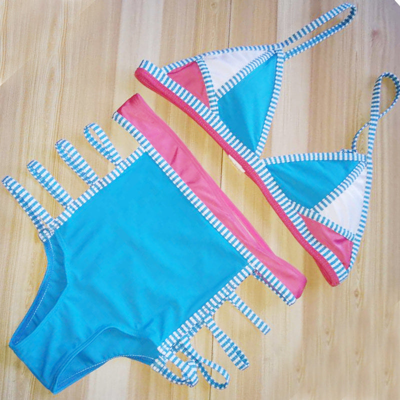 Multicolor Patchwork Two Pieces Swimwear Bikini