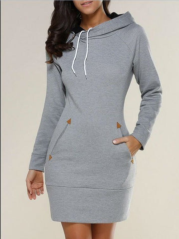 Fashion Pure Color Long Hoodie Dress