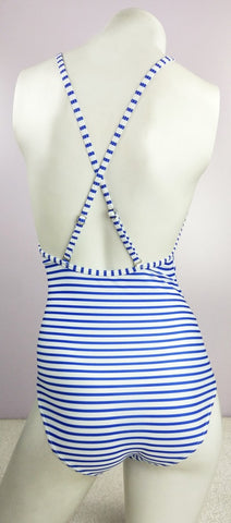 Stripe Lace Up Triangle One Piece Swimwear