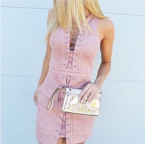 Fashion Lace Up Sleeveless Front Pockets Bodycon Short Dress