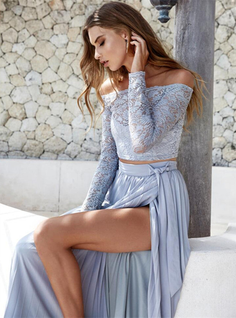 Off Shoulder Lace Long Sleeve Side Split Long Skirt Two Pieces Dress