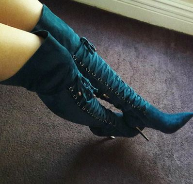 Straps Lace Up Pointed Toe Stiletto High Heel Over the Knee Boots