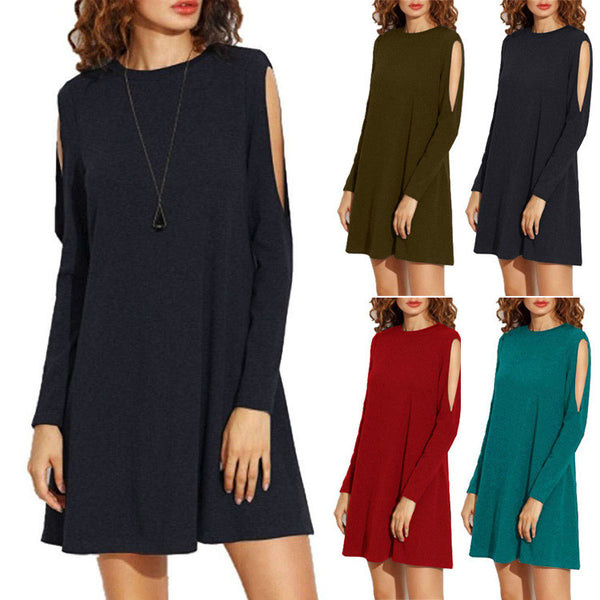 Bare Sleeve Scoop Pure Color Loose Short Dress