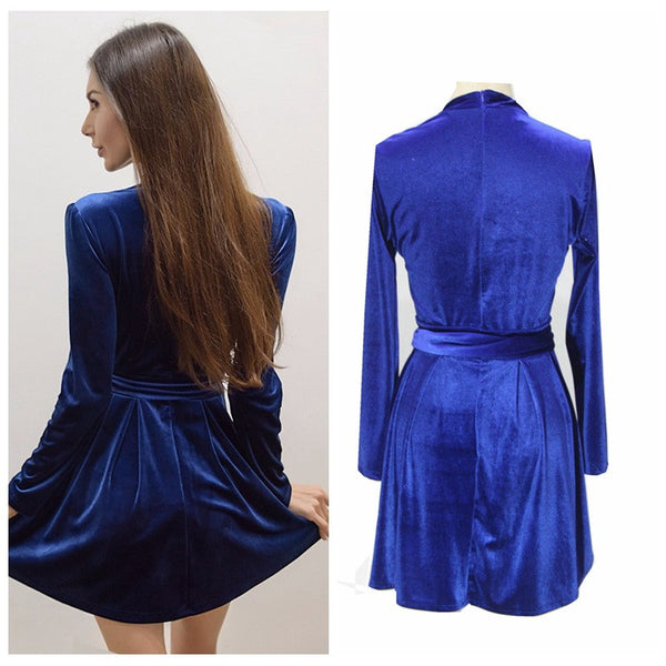 Sexy Blue V Halter Pleuche Belt Dress