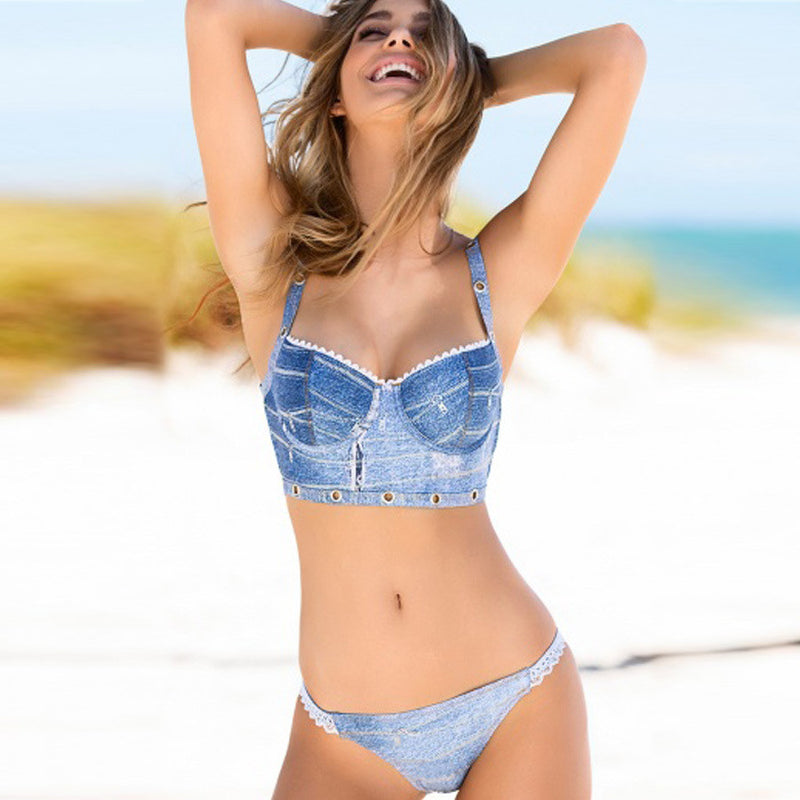 Personality Denim Blue Two Pieces Bikini