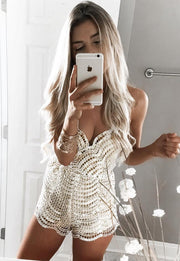 Fashion Backless Sequins Deep V-neck Sexy Strap Romper