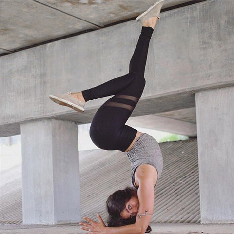 Mesh Patchwork Yoga Sports Long Slim Leggings