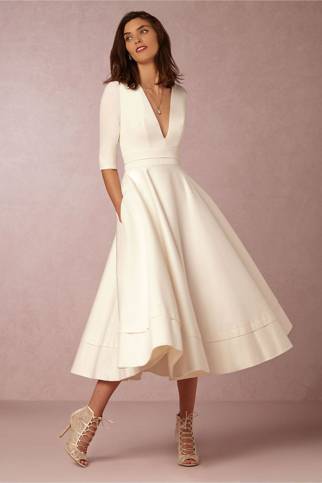 V-neck 3/4 Sleeves Solid High-waist Pleated Long Party Dress