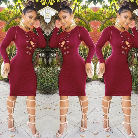 Sexy Long Sleeve High Waist Hollow Out Bodycon Knee-length Dress