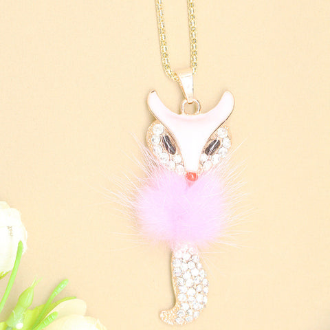 Fashion Crystal Fox Long Sweater Necklace
