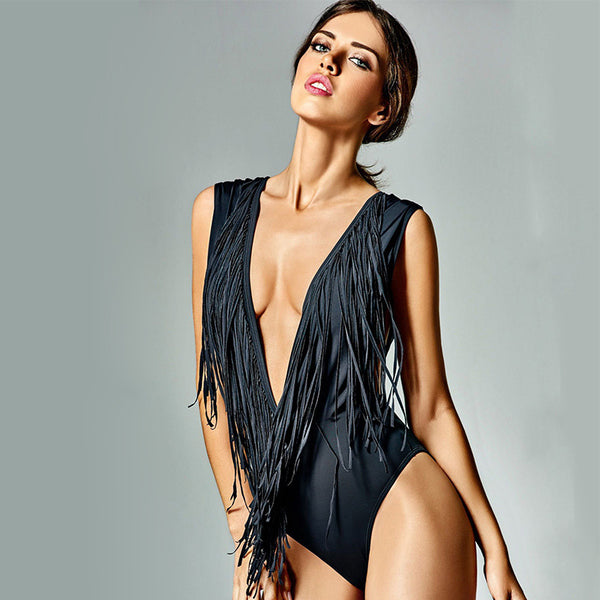Deep V-neck Tassel Block One Piece Swimwear