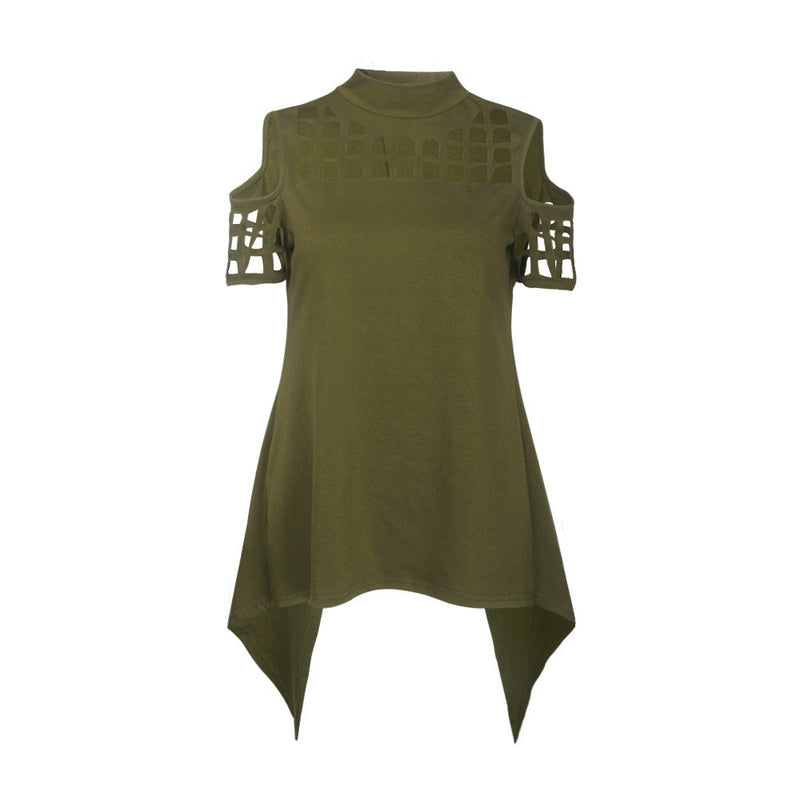 Hollow Out Back Split High Neck Irregular Blouse