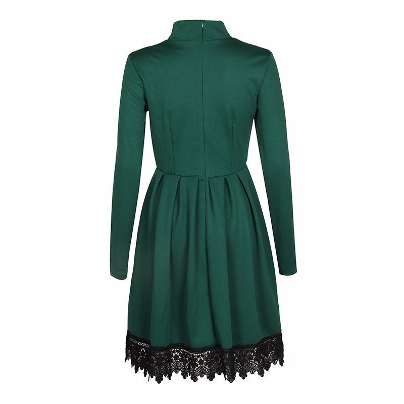 Scoop Long Sleeves Lace Patchwork Flared Pleated Knee-length Dress