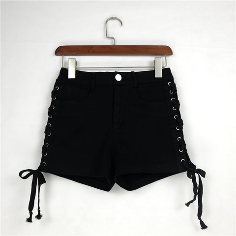 Pure Color Denim High Waist Lace Up Slim Shorts