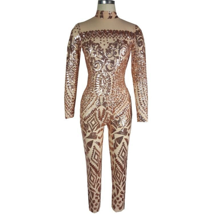 2c1dd9e0cef5 Champagne Sequins Print High Neck Long Sleeve Elastic Long Jumpsuit –  MeetYoursFashion