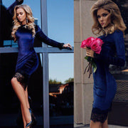 Sexy Fashion Velevet Lace Long Sleeve Bodycon Knee-Length Dress