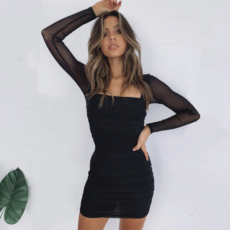 Black Mesh Ruched Stretch Bodycon Dress