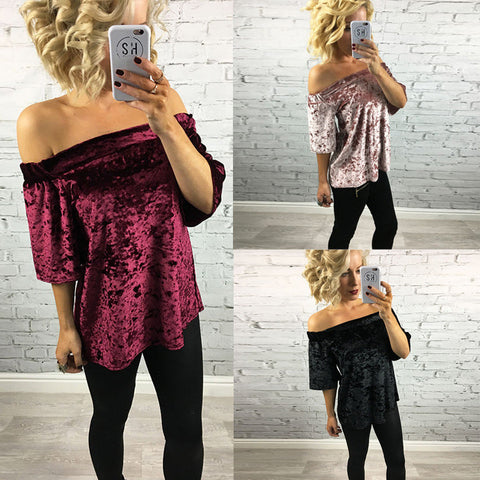 Fashion Elastic Off Shoulder Short Sleeve Velvet Blouse