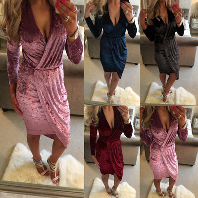Sexy Pleuche Wrap Deep V Neck Long Sleeve Irregular Dress