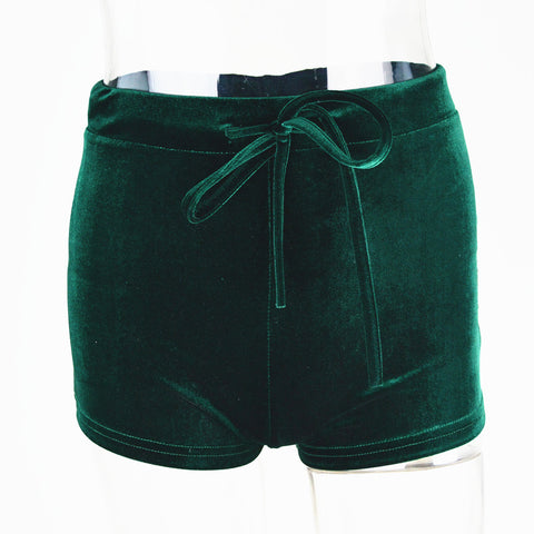 Pleuche High Waist Draw String Push Up Shorts
