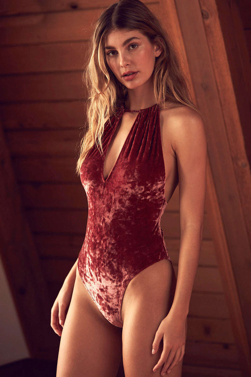 Sexy Halter Deep V-neck High Waist Bodysuit