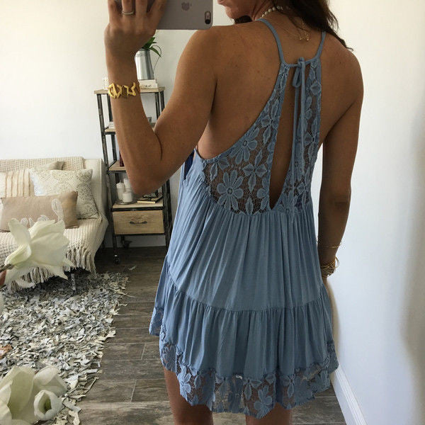 Spaghetti Straps Open Back Lace Short Dress