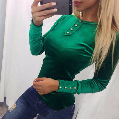 Scoop Long Sleeve Button Decorate Pure Color Slim T-shirt