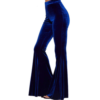 Fashion High Waist Velvet Women's Long Bell Pants
