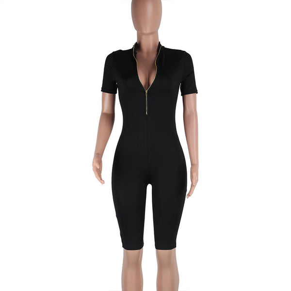 Deep V-neck Zipper Pure Color Both Side Short Jumpsuit