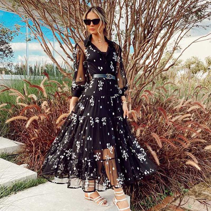 3/4 Sleeve Large Hem See Through Long Dress