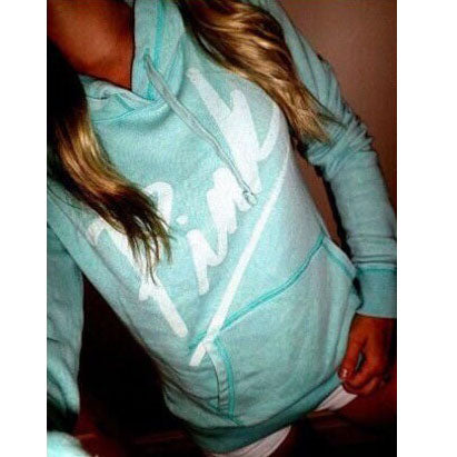 Letter Print Candy Color Loose Hoodie