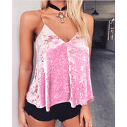 Sexy Adjustable Spaghetti Strap Velvet Backless Vest Blouse