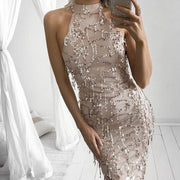 Sexy Halter Sequins Tassels Long Bodycon Belt Dress