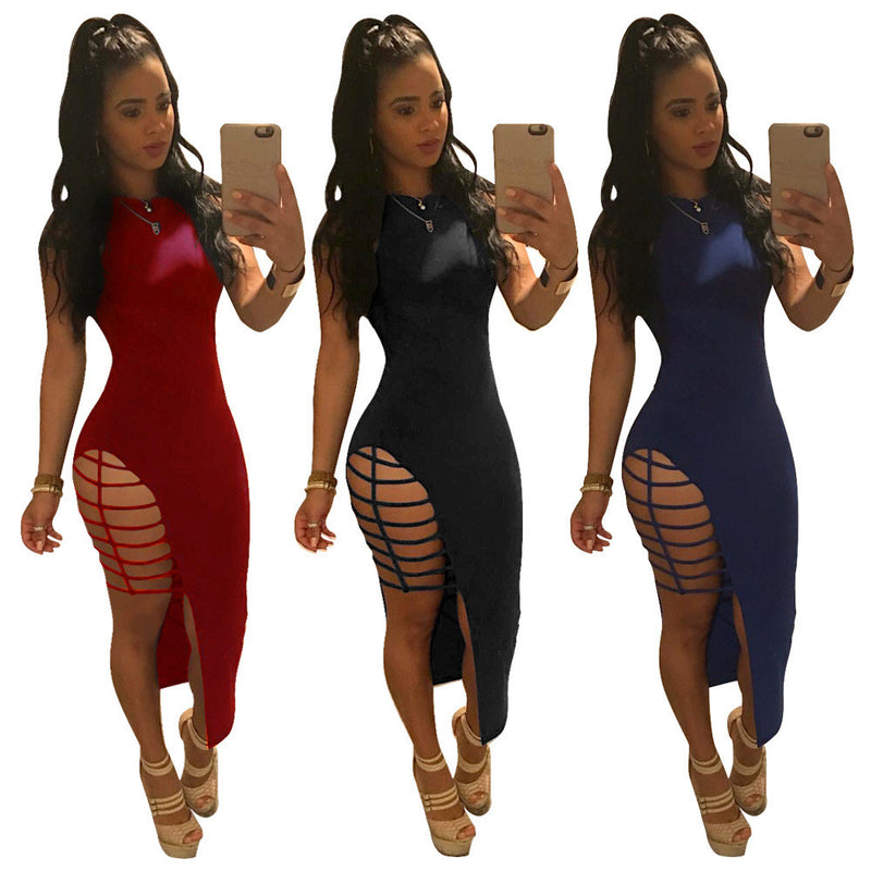 Scoop Sleeveless Bandage Solid Sheath Irregular Dress