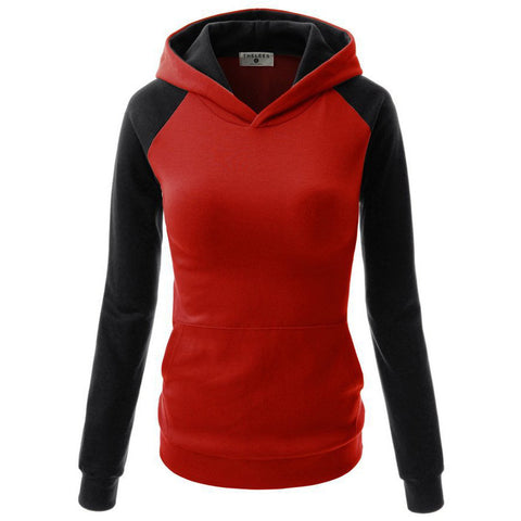 Splicing Hooded Pocket Contrast Color Slim Hoodie - Meet Yours Fashion - 3