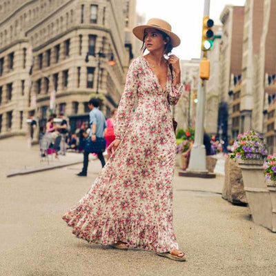 Bohemian Deep V-neck Floral Print Ruffle Long Beach Dress