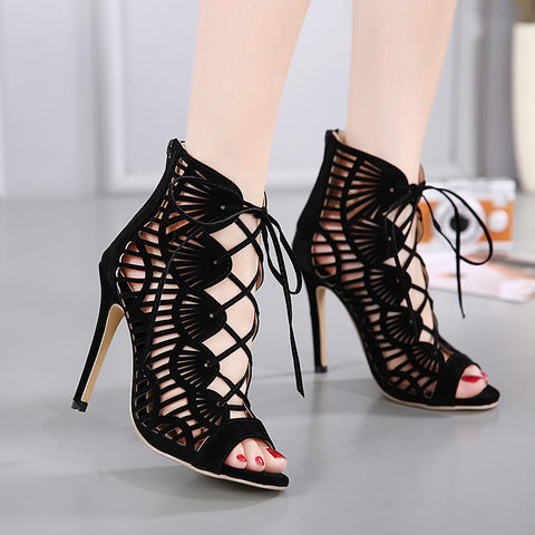 Roman Hollow Stiletto Heel Suede Peep-toe Zipper High Heel Sandals