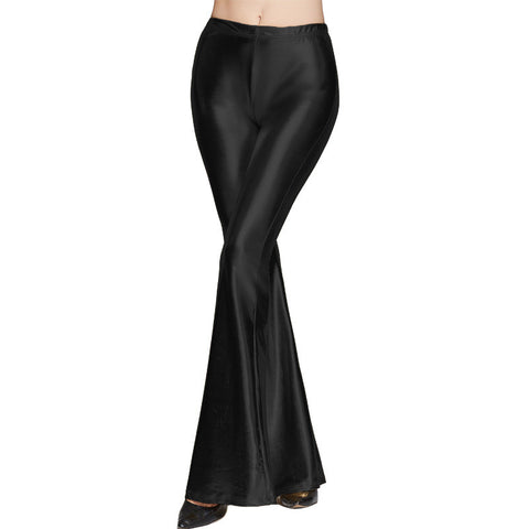 Sexy Low Waist Elastic Shining Long Bell Pants