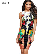 3D Floral Print Scoop Short Bodycon Dress