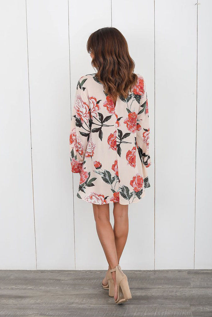 High Neck Cut Out Loose Flower Print Blouse