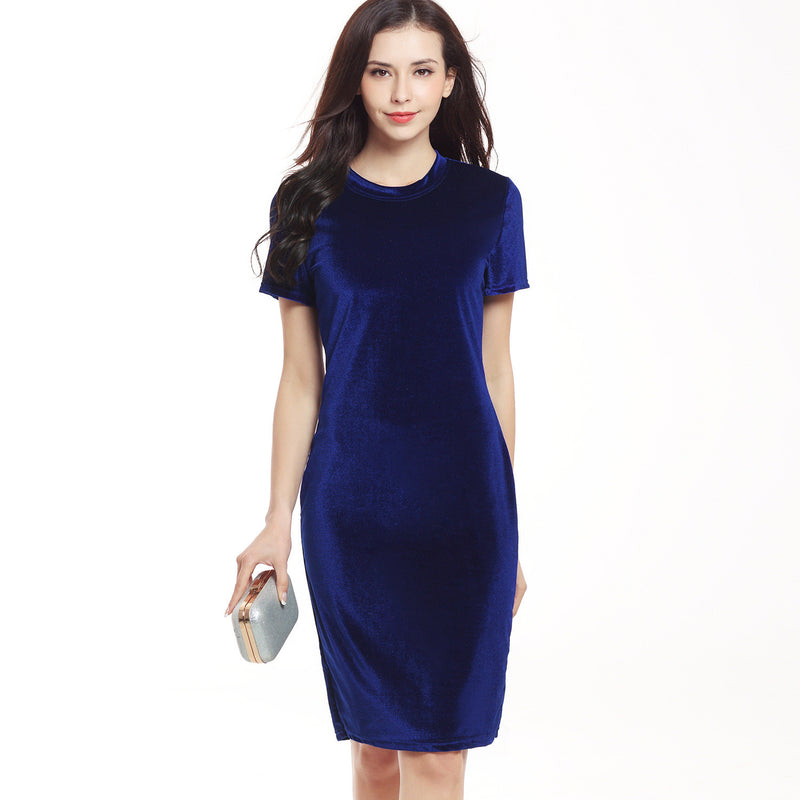 Short Sleeve Scoop Slim Knee-length Dress