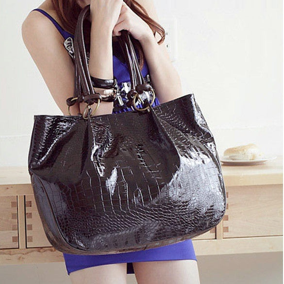 Girls' Leather Tote Handbag Big Shoulder Bag