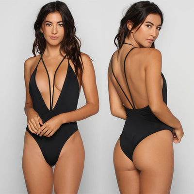 Black Deep V Halter High Leg One Piece Swimwear