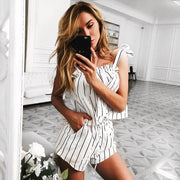 Stripe Off Shoulder Top with Shorts Two-Piece Set