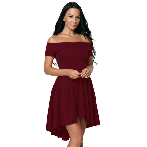 Pure Color Off-Shoulder Flared Irregular Short Dress