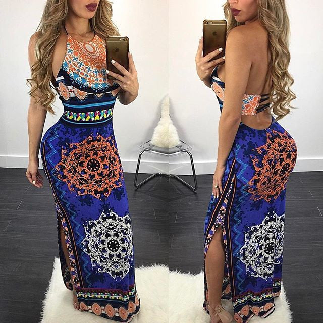Print Bear Shoulder Sleeveless Long Backless Dress